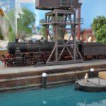 vista del porto in plastico ferroviario H0
